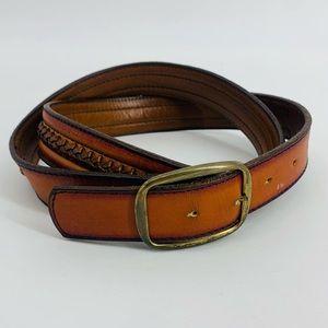 Genuine Cowhide Leather Weaving Western Brown Belt